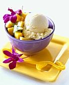 Mango ice cream with fresh fruit