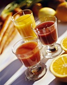 Three Glasses of Fruit and Vegetable Juice