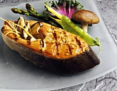 A Grilled Salmon Steak with Mushrooms, Asparagus, Snow Peas and Beans