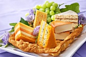 Platter of various cheeses