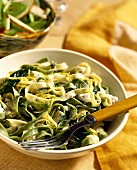 Ribbon pasta with feta, dill and lemon zest
