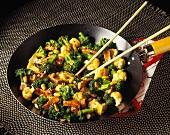 Beef, Broccoli and Cauliflower Stir Fry with Peanuts