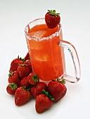A Strawberry Margarita in a Glass Mug