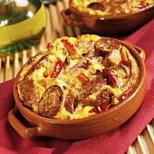 Cajun Breakfast Strata: Andouille Sausage, Red Pepper and Eggs