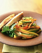 Sliced Chicken with Julienned Vegetables