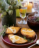 Twice Baked Sweet Potatoes with Creme Fraiche