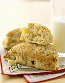 Apple Scones on a Striped Linen Placemat