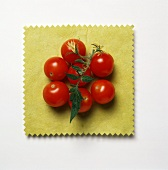 Cherry Tomatoes on a Square Yellow Cloth
