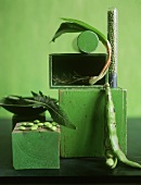 Still Life: Green Vegetables on Green Blocks