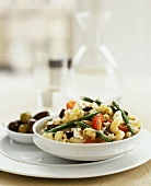 Pasta Salad with Green Beans, Olives, Feta and Tomatoes