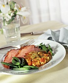Sliced Baked Ham with Snap Peas and Vegetable Cake