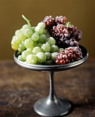 Sugared Green and Champagne Grapes on a Pewter Pedestal Dish