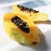 A Papaya; Sliced Open