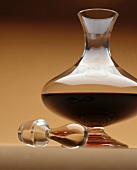 Red Wine in a Glass Decanter