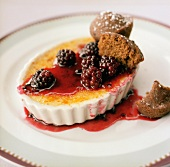 Crème Brulee with Blackberry Topping