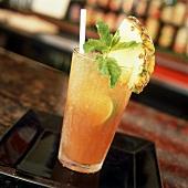 Mai Tai with pineapple and mint leaf