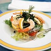 Shrimp cocktail with salad garnish