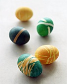 Coloured eggs (dyed with elastic bands around them)