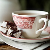 Rocky Road Candy with a Cup of Tea