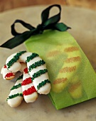 Candy Cane Cookies with Green Bag