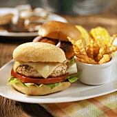 A Turkey Burger with Cheese and Fries