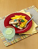 Chicken Breasts with Black Bean and Corn Relish with Yellow Rice and a Margherita