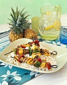 Pork Kebabs on a Bed of White Rice