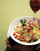 Spaghetti Squash with Vegetables and Parmesan; Red Wine
