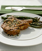Marinated and Grilled Pork Chop with Asparagus