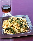 Linguine with Asparagus and Pine Nuts; Red Wine