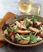 Salad with Mixed Greens, Sliced Turkey, Artichoke Hearts and Feta
