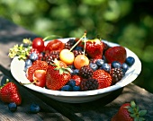 Plate of fresh summer fruits on table in open air