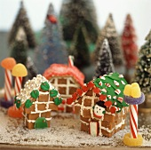 Christmas village made from toffees and glace icing