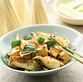 Stir Fried Tofu with Basil Leaves and Bok Choy with Chopsticks