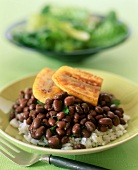Black beans with plantains on rice (Caribbean, Cuba)