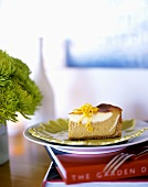A piece of marbled cheesecake on green plate