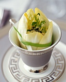 Endive Filled with Baby Greens and Blue Cheese