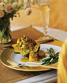 Cooked Acorn Squash Topped with Curried Scallops