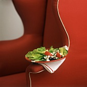 A Greek Salad on a Red Chair