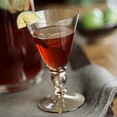 Liqueur with mint and slice of lime in glass