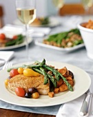 Swordfish with Heirloom Tomatoes, Olives, Asparagus and Sweet Potatoes