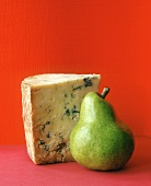 Piece of blue cheese and green pear