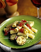 Ziti with Zucchini, Tomatoes and Grated Parmesan