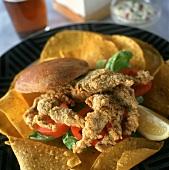 Chicken Tender Sandwich on Corn Chips