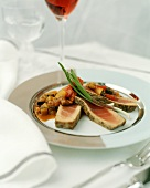 Tuna with Zucchini and Bell Pepper Sauce