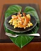 Plated Shrimp with Potato and Corn Relish on a Banana Leaf