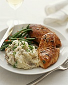 Herbed Chicken Breasts with Scallion Mashed Red Potatoes and Green Beans