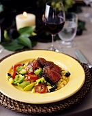 Sliced Beef Over Tomato and Corn Salad with Red Wine