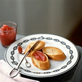 Toasted Baguette Slices with Quince Paste