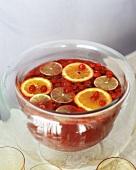 A bowl of cranberry citrus punch